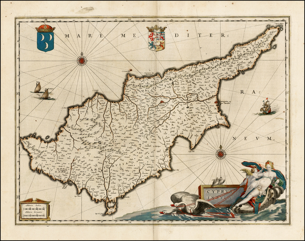 70-Greece, Turkey, Balearic Islands and Cyprus Map By Willem Janszoon Blaeu