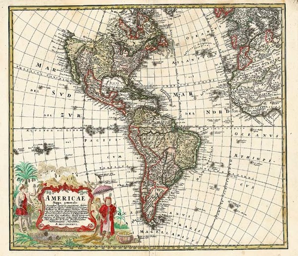 39-World, Western Hemisphere, South America and America Map By Homann Heirs