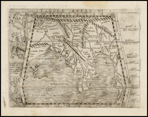 92-Indian Ocean, India and Southeast Asia Map By Giacomo Gastaldi