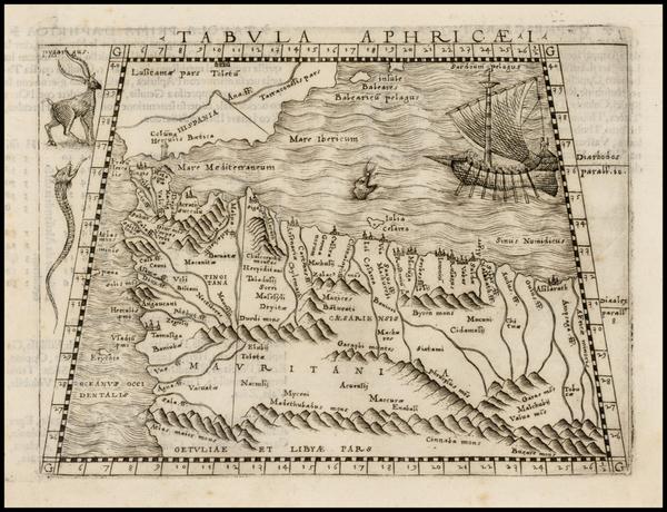 47-Spain, Mediterranean, Balearic Islands and North Africa Map By Giacomo Gastaldi