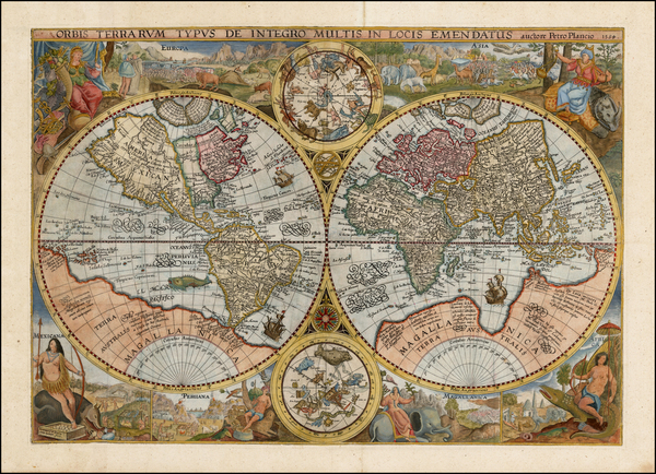 54-World, World, Curiosities and Celestial Maps Map By Petrus Plancius
