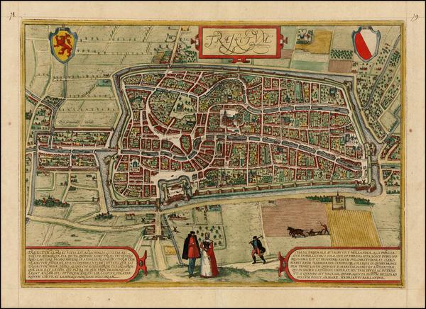 62-Netherlands Map By Georg Braun  &  Frans Hogenberg