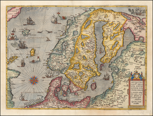 52-Atlantic Ocean, Russia, Baltic Countries and Scandinavia Map By Gerard de Jode