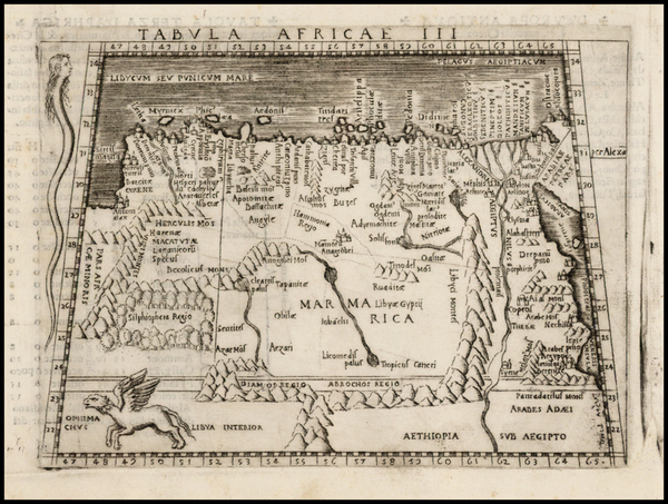 63-North Africa and East Africa Map By Giacomo Gastaldi