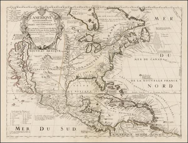 73-North America and California Map By Vincenzo Maria Coronelli / Jean-Baptiste Nolin