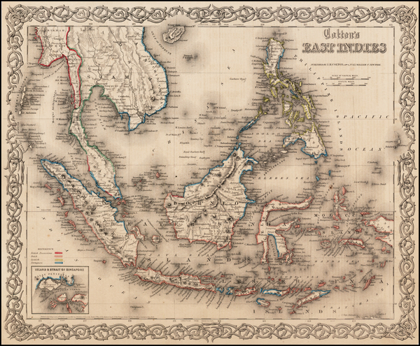 34-Southeast Asia, Philippines and Other Pacific Islands Map By Joseph Hutchins Colton