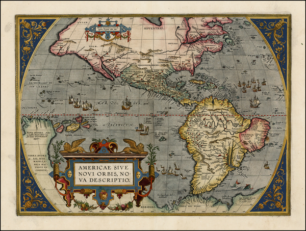 93-Western Hemisphere, North America, South America and America Map By Abraham Ortelius