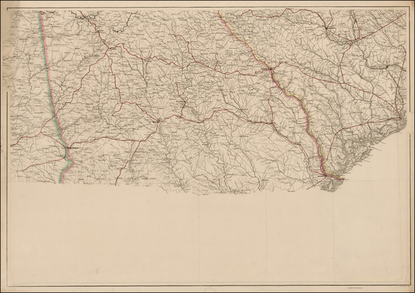 South, Southeast and Georgia Map By Adolph Lindenkohl