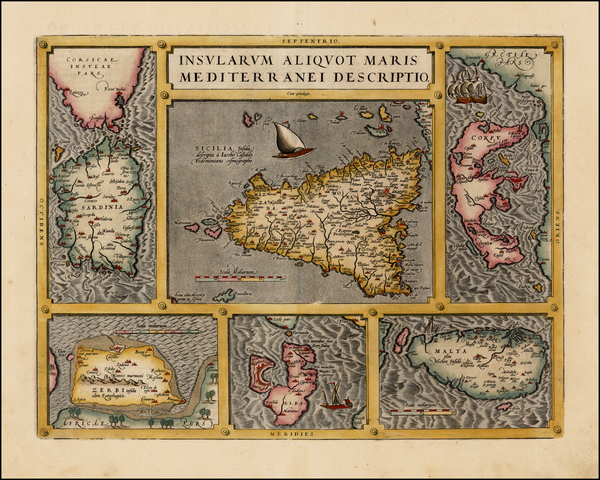 71-Italy, Greece, Mediterranean and Balearic Islands Map By Abraham Ortelius