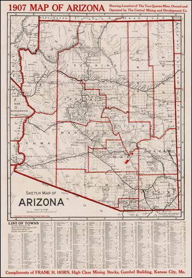 Arizona Map By George Clason