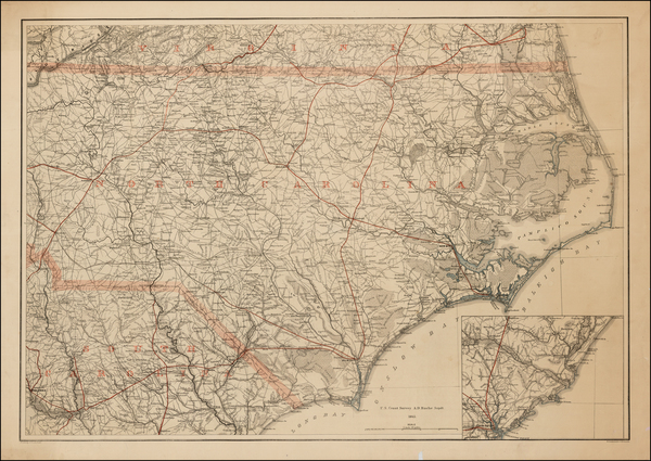 47-Virginia, North Carolina and South Carolina Map By Adolph Lindenkohl