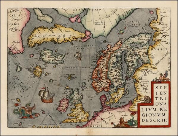 47-Atlantic Ocean, British Isles, Scandinavia and Balearic Islands Map By Abraham Ortelius