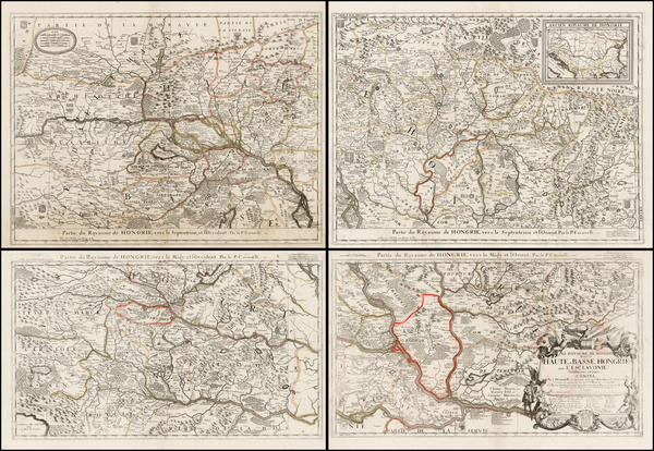 0-Austria, Hungary, Balkans and Serbia Map By Vincenzo Maria Coronelli / Jean-Baptiste Nolin