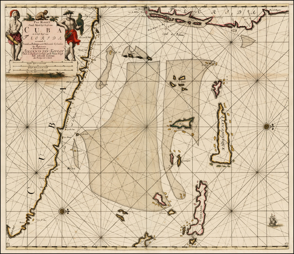 3-Florida, Caribbean, Cuba and Bahamas Map By Johannes Van Keulen