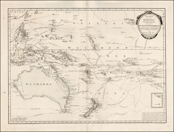 93-Australia & Oceania, Australia, Oceania, New Zealand and Other Pacific Islands Map By Franz
