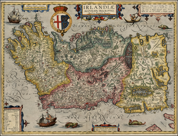 32-British Isles, Ireland and Balearic Islands Map By Abraham Ortelius / Johannes Baptista Vrients