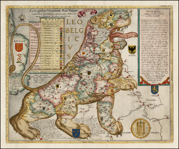 9-Netherlands, Curiosities and Comic & Anthropomorphic Map By Michael Aitzinger