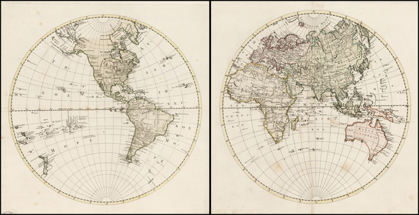 69-World, Eastern Hemisphere and Western Hemisphere Map By Anonymous