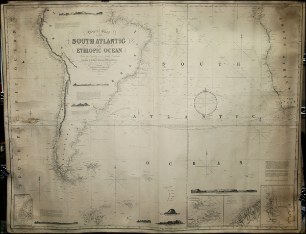 66-Atlantic Ocean, South America, South Africa and West Africa Map By James Imray & Son