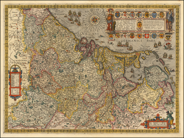 46-Netherlands and Luxembourg Map By Abraham Ortelius / Johannes Baptista Vrients