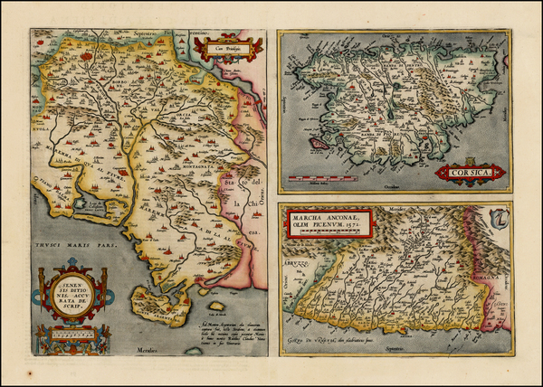 72-Northern Italy and Corsica Map By Abraham Ortelius