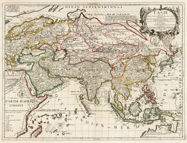 66-Asia and Asia Map By Vincenzo Maria Coronelli / Jean-Baptiste Nolin