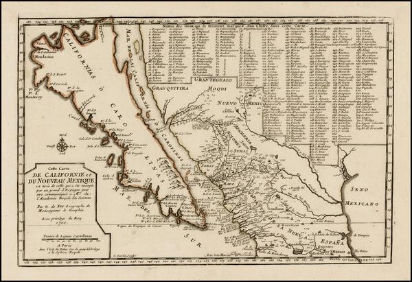51-Baja California and California Map By Nicolas de Fer