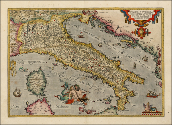 39-Italy, Mediterranean and Balearic Islands Map By Abraham Ortelius
