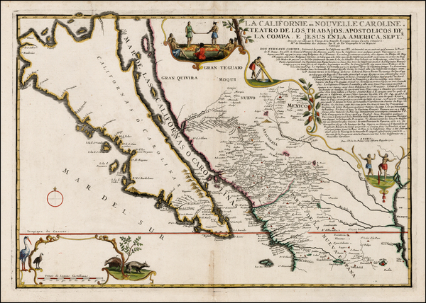 43-Southwest, Mexico, Baja California and California Map By Nicolas de Fer