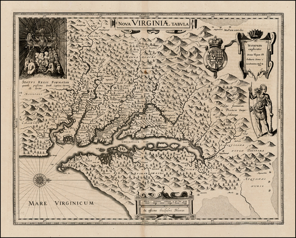 43-Mid-Atlantic and Southeast Map By Willem Janszoon Blaeu
