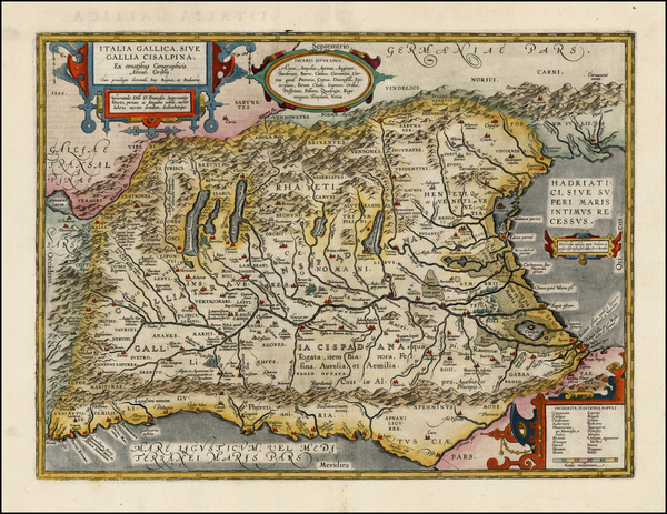 2-Switzerland, Italy and Northern Italy Map By Abraham Ortelius