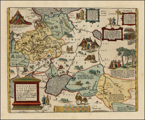 20-Russia, Ukraine, India, Central Asia & Caucasus and Russia in Asia Map By Abraham Ortelius
