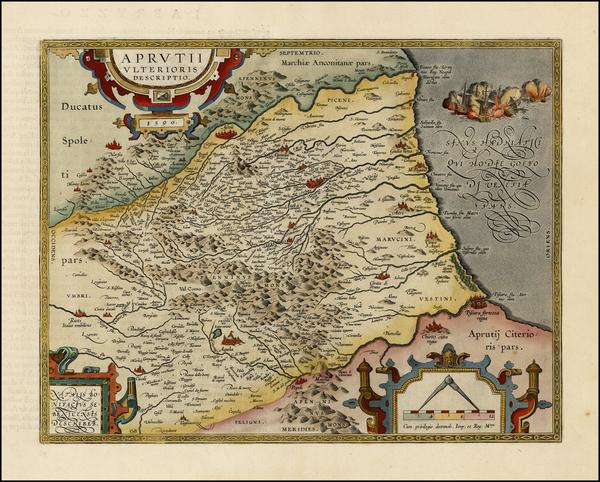 32-Italy Map By Abraham Ortelius
