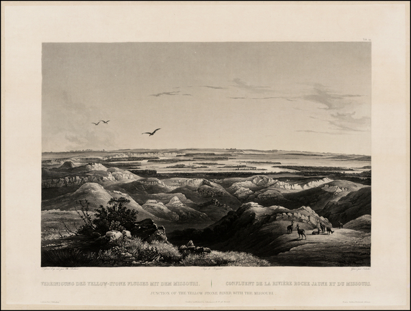 55-Plains and North Dakota Map By Karl Bodmer