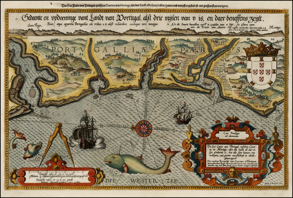 55-Portugal Map By Lucas Janszoon Waghenaer
