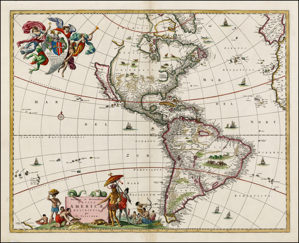 28-Western Hemisphere, South America and America Map By Nicolaes Visscher I