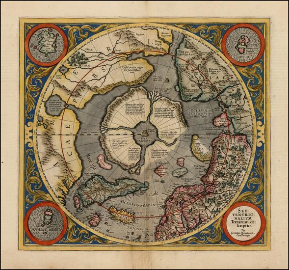 23-Northern Hemisphere, Polar Maps and Alaska Map By Gerard Mercator