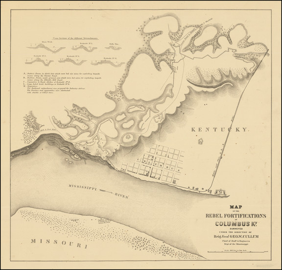 68-South, Kentucky, Missouri and Civil War Map By Dept. of the Mississippi