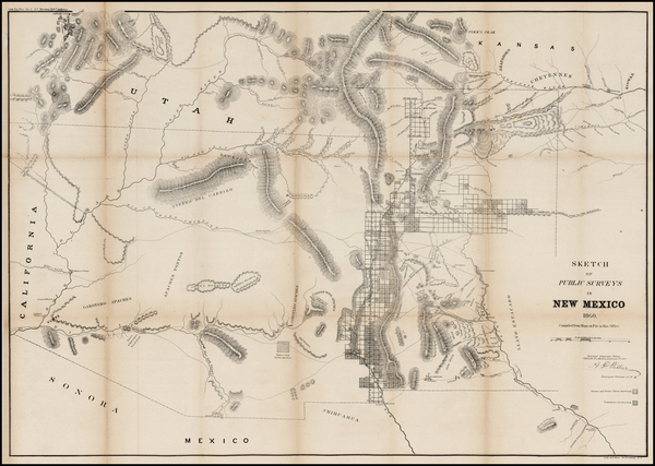 98-Southwest, Arizona, New Mexico and Rocky Mountains Map By U.S. General Land Office