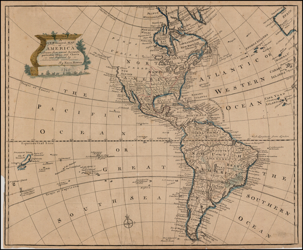 51-South America and America Map By Emanuel Bowen