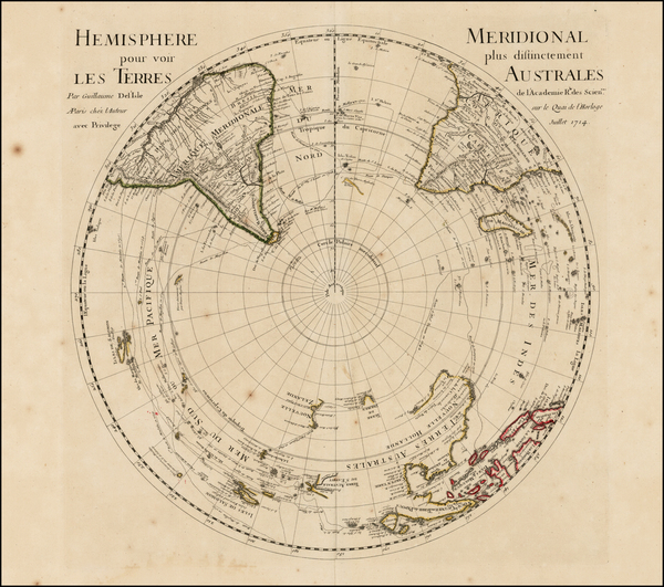100-Southern Hemisphere, Polar Maps, Australia and New Zealand Map By Guillaume De L'Isle