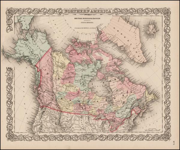 94-Alaska and Canada Map By Joseph Hutchins Colton