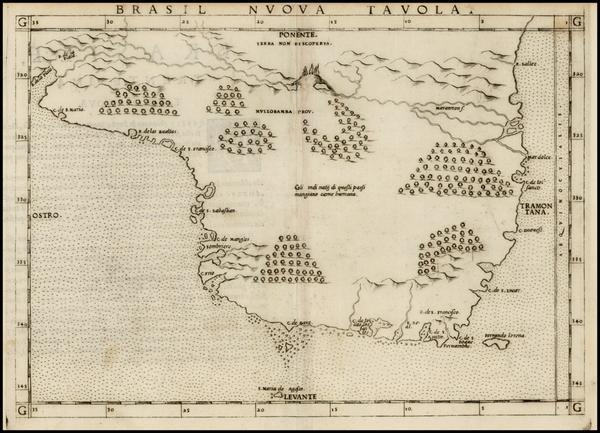 16-South America and Brazil Map By Girolamo Ruscelli