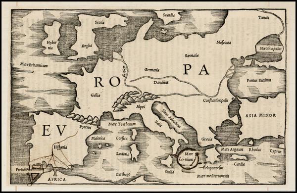 58-Europe, Europe, British Isles and Mediterranean Map By Caius Julius Solinus