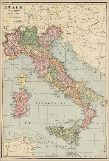 51-Italy and Balearic Islands Map By George F. Cram