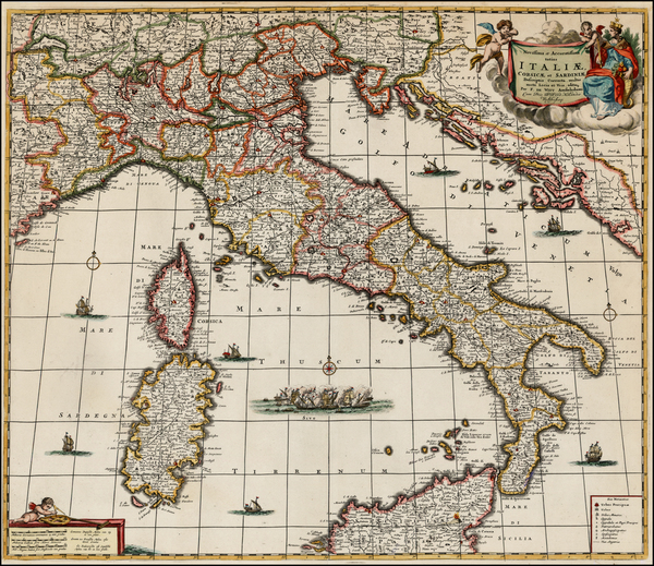90-Italy and Balearic Islands Map By Frederick De Wit