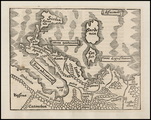 88-Italy and Balearic Islands Map By Caius Julius Solinus