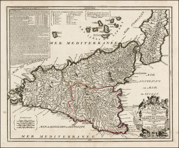 Italy, Southern Italy and Sicily Map By Jean-Baptiste Nolin