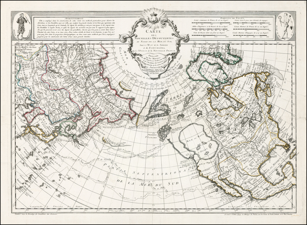 35-Alaska, North America, Canada, China, Japan, Pacific and Russia in Asia Map By Philippe Buache
