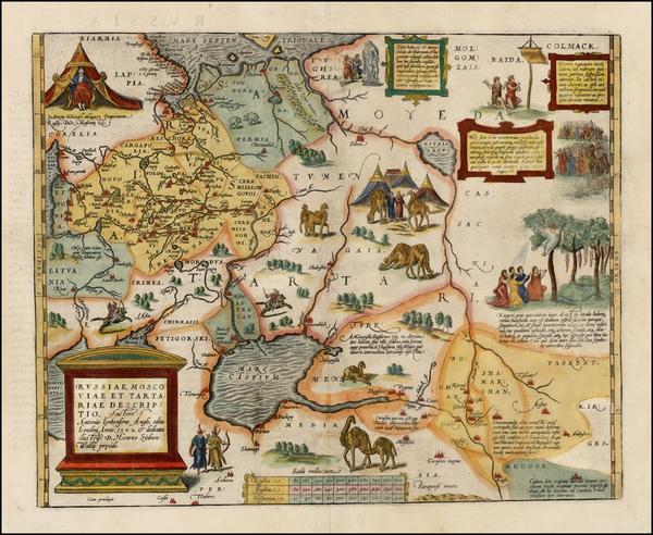 61-Russia, Ukraine, India, Central Asia & Caucasus and Russia in Asia Map By Abraham Ortelius